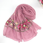 Wholesale 20colors Ethnic Style Beautiful Embroidered Scarf Shawl Soft Muslim Hijabs