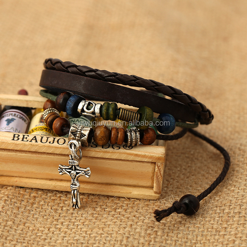 Restore ancient ways jewelry cross beaded bracelet blasting accessories wholesale Woven leather bracelet