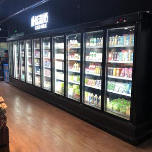 supermarket refrigeration equipment,glass door display refrigerator showcase, commercial freezer with CE certificate
