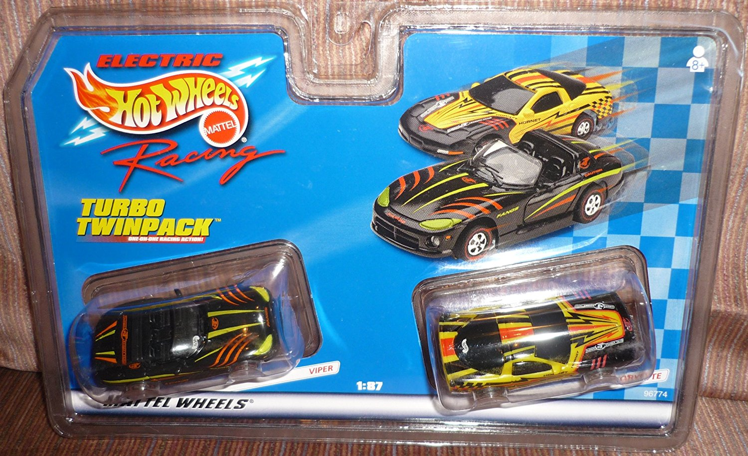 96774 Hot Wheels Electric Racing Turbo Twinpack Viper And Corvette 1 87 Scale