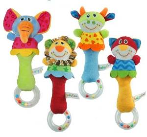 2016 Baby Rattle Toys Animal Hand Bells Plush Baby Toy Newbron Gift Christmas Animal Style