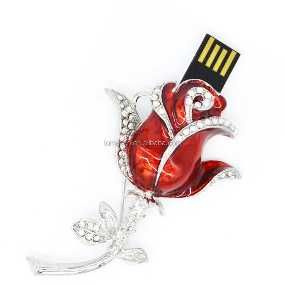 Free shipping TOMAX 8G 16G 32G 64G USB flash drive Metal with crystal Red rose Brooch USB stick Waterproof Jewelry Pen drive
