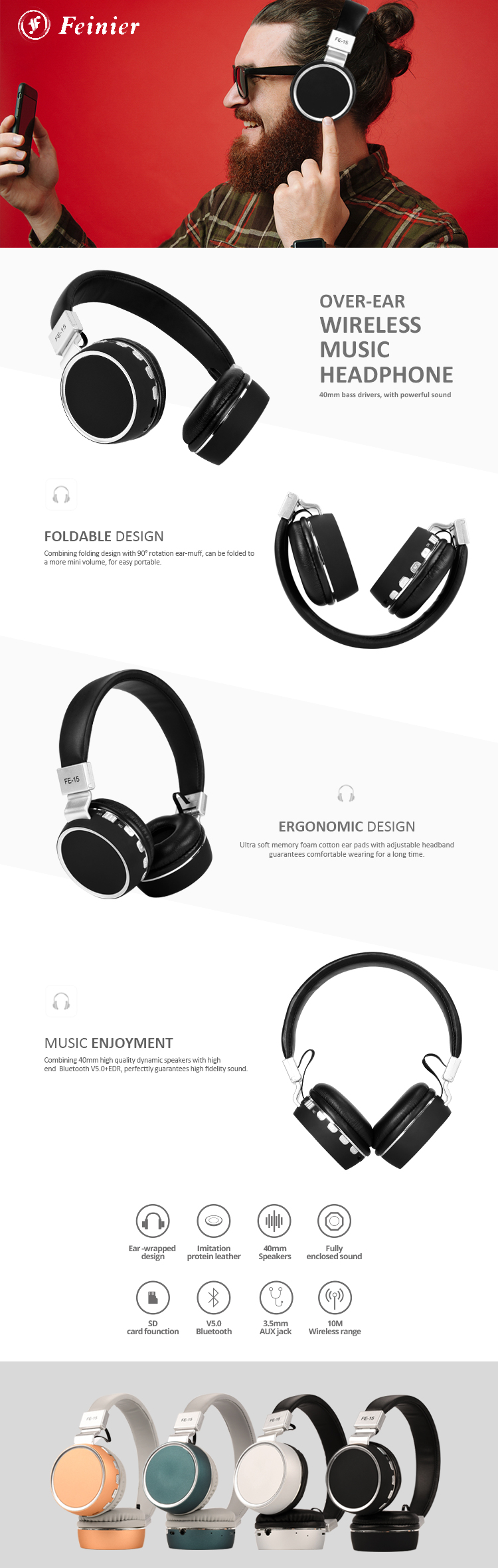 high sound quality oem hd stereo lightweight foldable dual modes wired wireless over ear bluetooths headphone with tf card slot