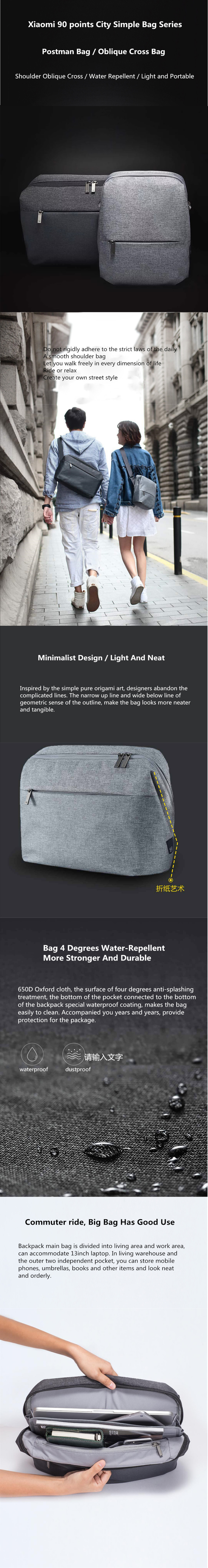 1d890307711d Xiaomi 90 Simple City Shoulder Bag Satchel Bag Boy Girl Men Women ...