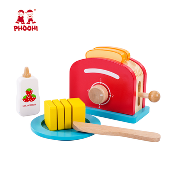 Hot selling children pretend kitchen food play set wooden bread maker toy for kids 3+