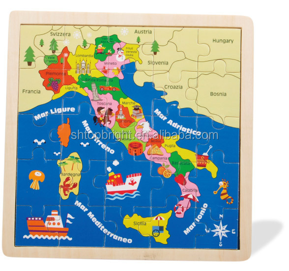 hot sale germany map wooden jigsaw puzzle with kinds of graphics for kids