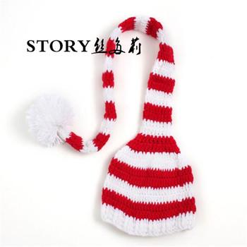 Bebé recién nacido niños dulces de Navidad cola larga a rayas elfo de gorra  Infantil Niño 4de7287b9b4