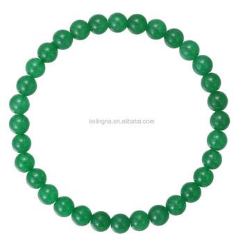 Fashion Charm Bangle 6 Mm 7 5 Inch Green Dye Jade Gemstone Bracelet Stone