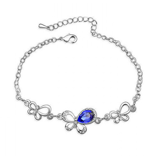New Fashion Crystal Bracelet Animal Butterfly Mix color Silver Chain Bracelet For Woman