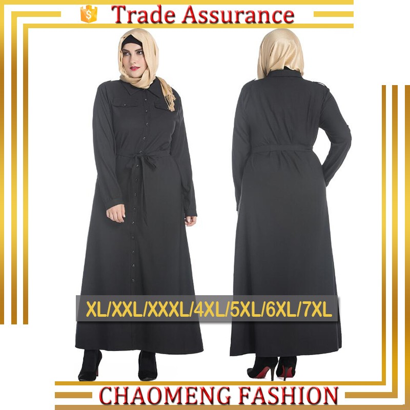 56910f2c8124 9044# Buttons Black Abaya Front Open Long Sleeve Maxi Kaftan Muslim Dress  For Islamic Women Plus Size Muslimah Clothing