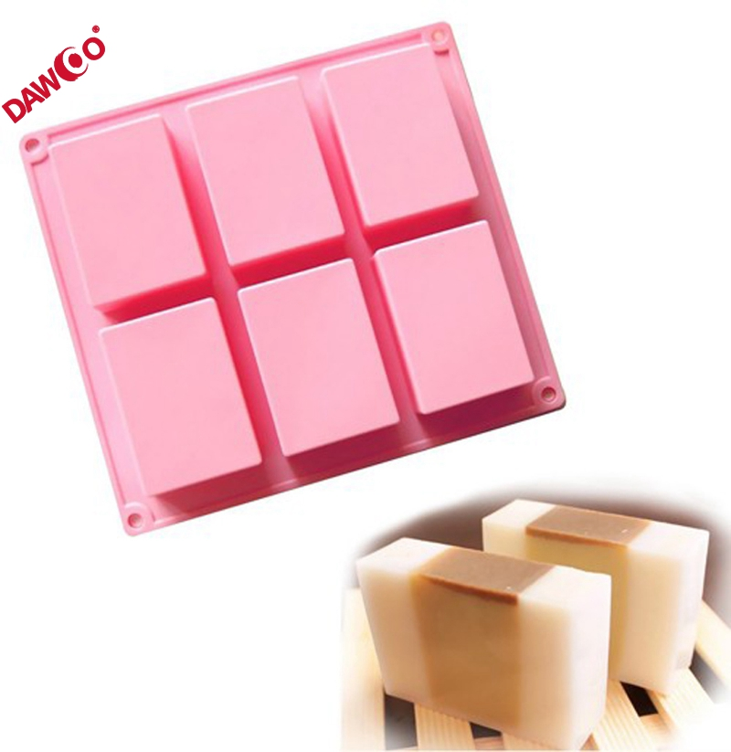 OEM 6 cavity rectangle cake jelly mold diy silicone bar soap mold