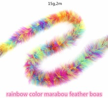 rainbow color marabou feather boas 2 meters 15 grams