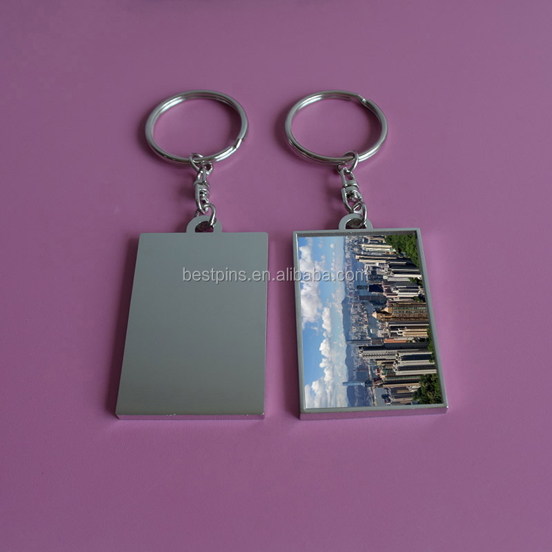 Victoria Harbour Print Photos Metal Silver Keychain, Travel Key Chain Gifts