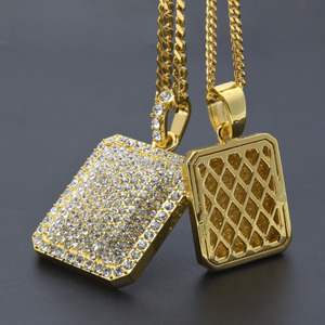 Jewelry Hip hop Bling bling 18k gold plated inlaid AAA CZ diamond pendant Wholesale The U.S. Army theme pendant PVD MEN'S