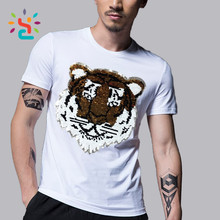Hip hop punk tiger sequin t shirt white black two way Reversible sequin bling tee shirts men O neck tshirt