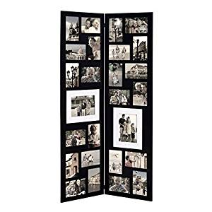 Adeco PF0559 Decorative Black Wood Folding Floor-Standing Collage Picture Photo Frame, Hinged, 26 Openings, 4x6, 5x7,Black