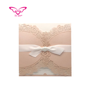 Two Side Folding Brush Pink Laser Cut Flower Greeting Wedding Card