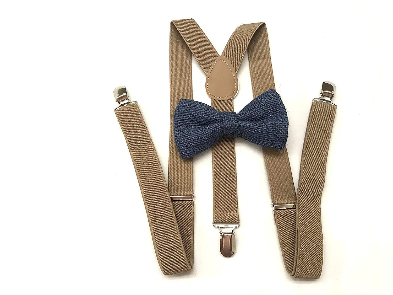 Navy Blue Burlap bow tie for Men's Brown Suspenders Groomsmen Rustic wedding Ring bearer Outfit mens bow tie suspender set mens teens