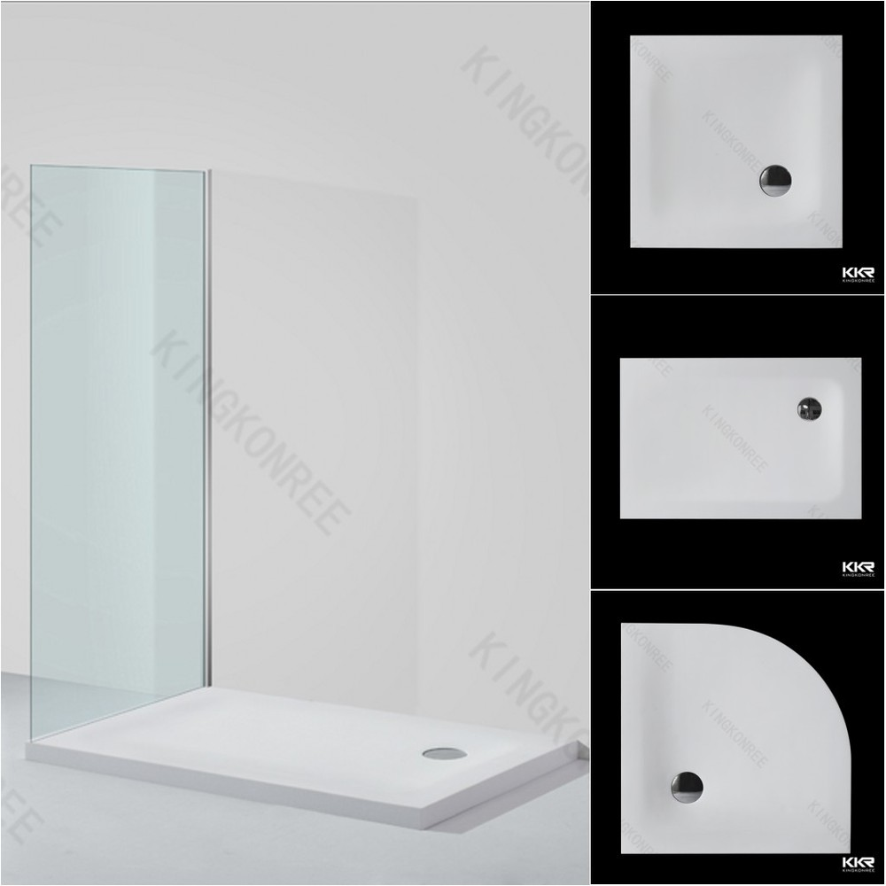 Custom Made Solid Surface Shower Tray White Marble Shower Base