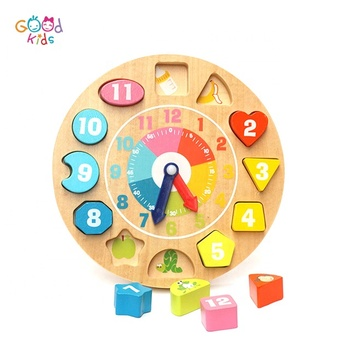 Goodkids Best Beech Material Time Learning Moveable Clock Wooden Toys Educational