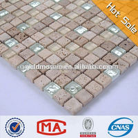white fake gold glass mix travertine marble mosaic tile for wall decoration glass mosaic for kitchen