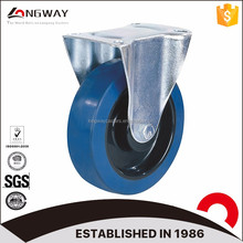 Welcome custom 3-8 inch blue rubber truckle elastic castor nylon core fixed caster