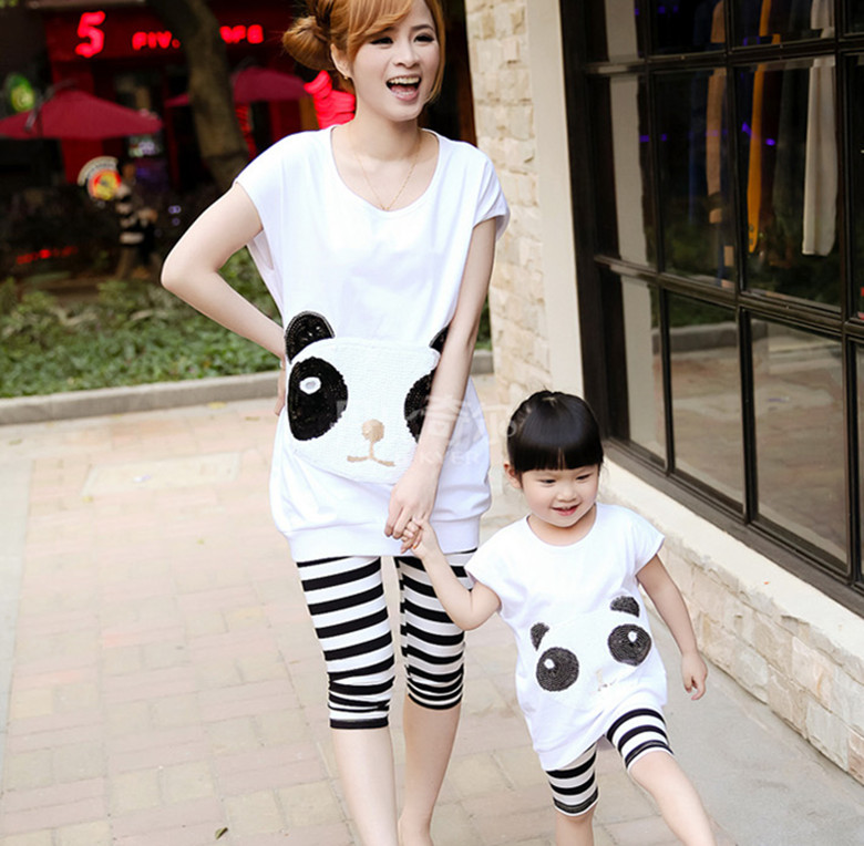 Family Casual Clothing Suit Mum & Daughter Summer Two pieces Sports Style Nail Bead Panda T-shirt & Pants Set