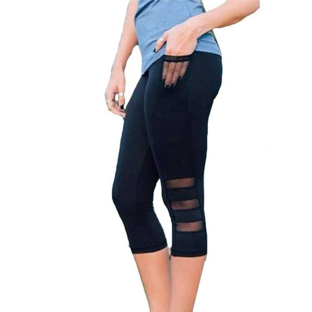 6ecf6ffa49617 Get Quotations · EBRICKON Sport Leggings Pants Women Fitness Yoga Gym High  Waist Legging Girl Black Mesh 3/