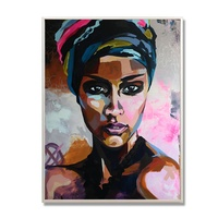 Abstract Wall Art Watercolour African Woman Portrait Canvas Painting