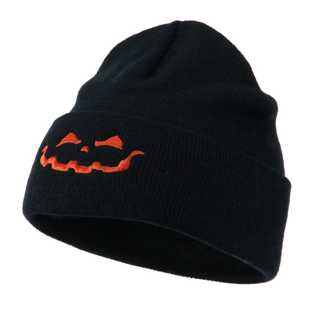 27b6d52f9de2f Get Quotations · Halloween Jack o Lantern Face Embroidered Long Beanie -  Navy