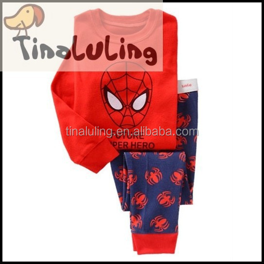 New style kid cotton spiderman cartoon red color baby pajamas wholesale