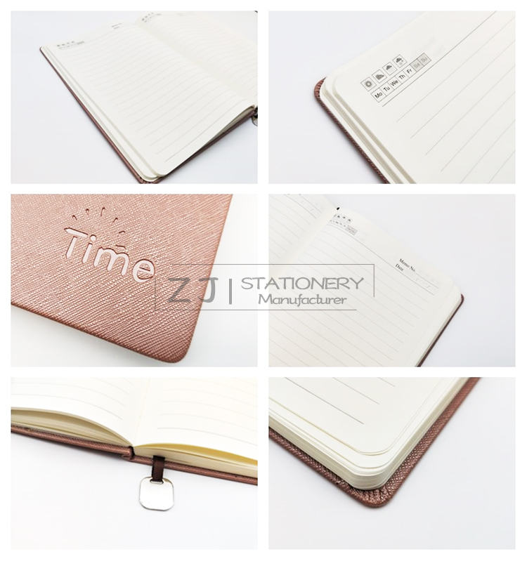 2019 Academic A5 Hard Cover Logo Customized Pocket Notepad PU Leather Diary Note Book Custom Hardcover Planner Journal Notebook