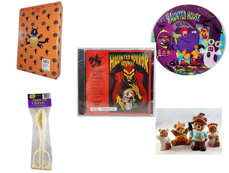 Halloween Fun Gift Bundle [5 piece] - Halloween Cat Pumpkin Push In 5 Piece Head Arms Legs - McDonald's Haunted House, RIP, Boo Halloween Plate - Haunted Horror Sounds CD - Skeleton Server - Homco