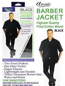 ANNIE BARBER JACKET BLACK POLY/COTTON BLEND SHORT SLEEVE ZIPPER CLOSURE & POCKETS #3955 (XXXX LARGE SIZE)¸front pockets, chest pockets, zipper closure, Teflon, water resistant, stain resistant, wash cold, premium quality, salon, professional, hair cut, cotton, blend, salon care, hair stylist,