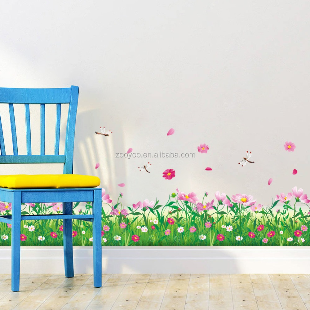 zooyooPA-048-N Nature Colorful Home Decor Flowers Grass Wall Stickers 3d Wall Decals Floral Bedroom Decoration