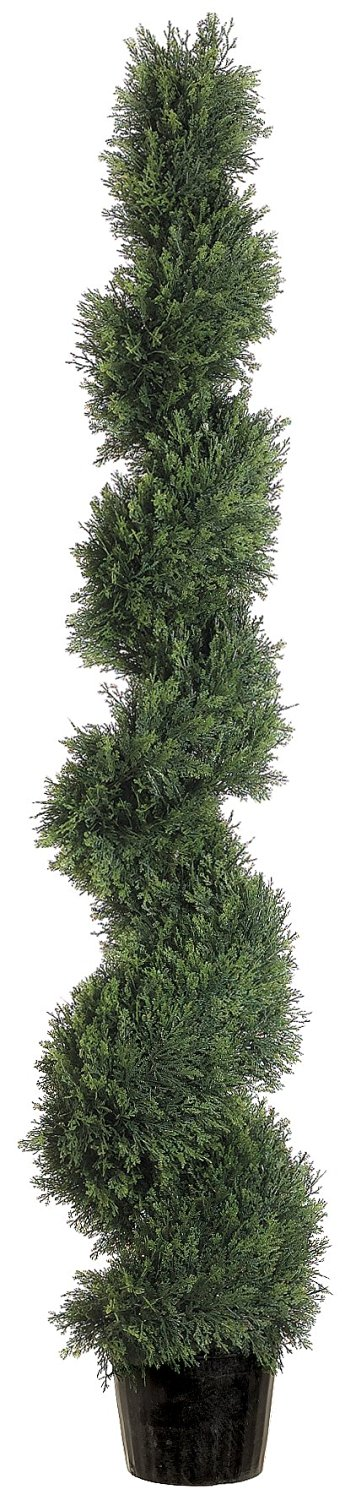 Silk Decor 5-Feet Spiral Cedar Topiary Plant, Green