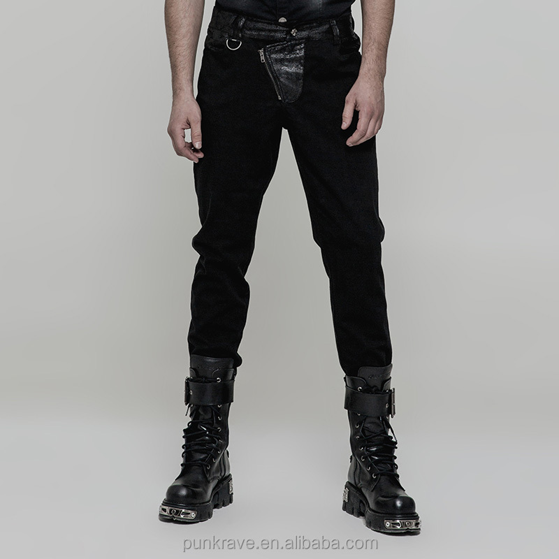 WK323 Steampunk Pencil Fitted Polyester PU Leather Stripe Men Skinny Trousers