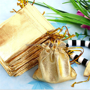 Wedding Decoration Metallic Foil Cloth Organza Bags Favour Gifts Goodie Candy Packaging Pouches