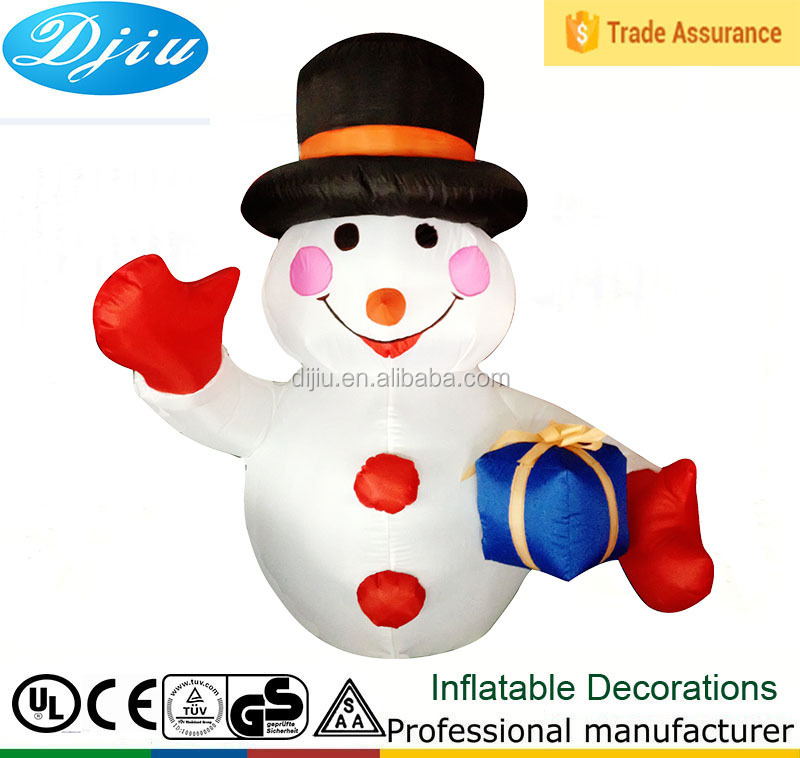 Airblown Inflatable christmas holiday snowman wearing black hat with gift yard lawn decor
