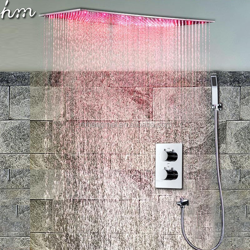 Modern Bath Sets Ceiling Large Rain Shower Head Stainless Steel LED Rainfall Shower Set Thermostat Mixer Shower 500*1000mm