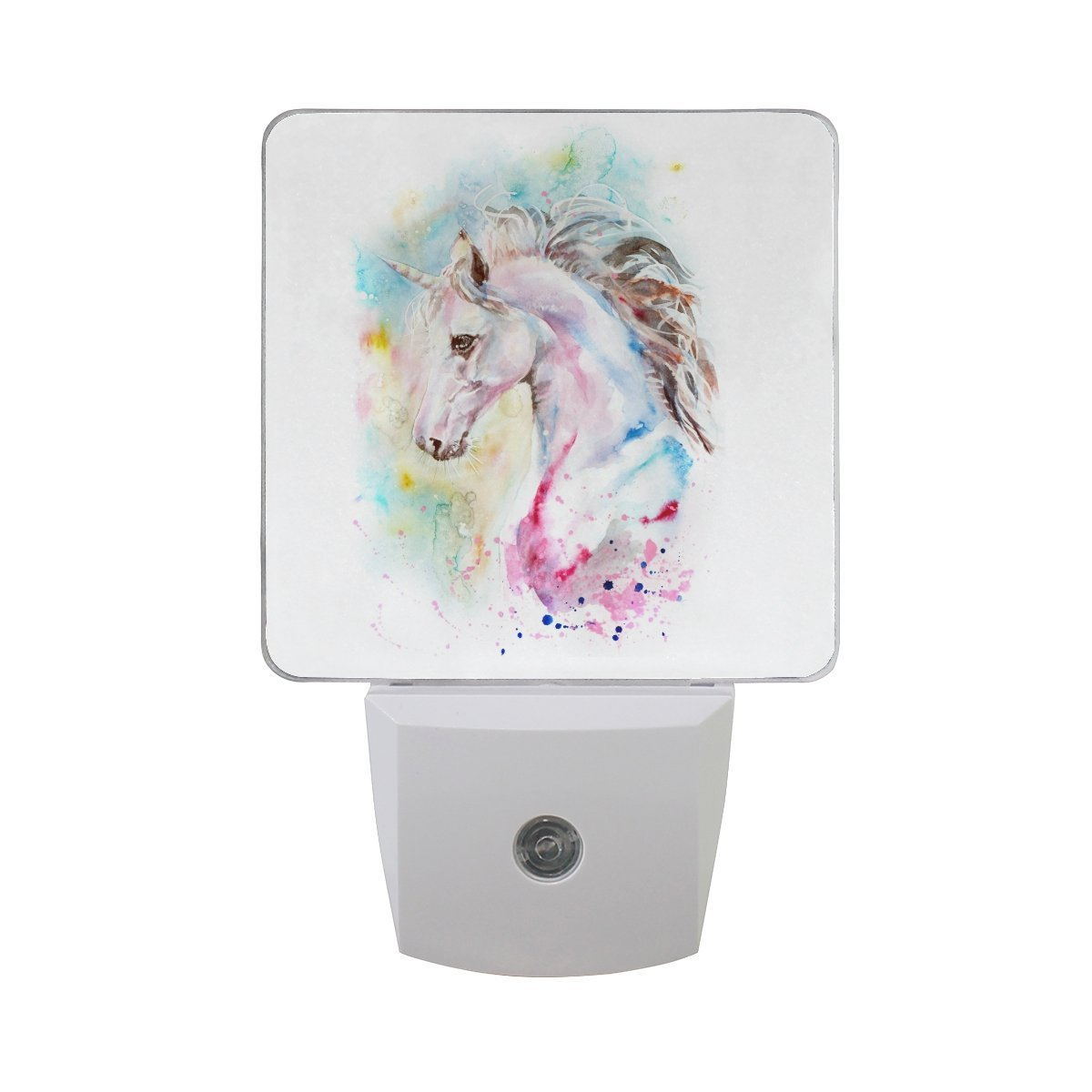 Naanle Set of 2 Unicorn In Colorful Painting On White Background Auto Sensor LED Dusk To Dawn Night Light Plug In Indoor for Adults