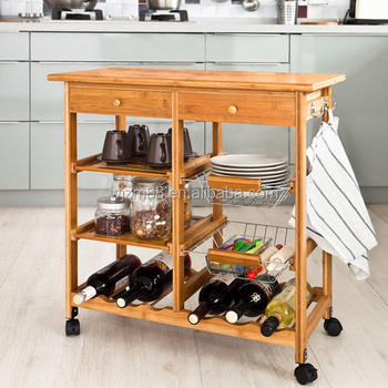 Bamboo Kitchen Trolley, Bamboo Kitchen Cart U0026 Trolley Wine Rack Holders  Wholesale