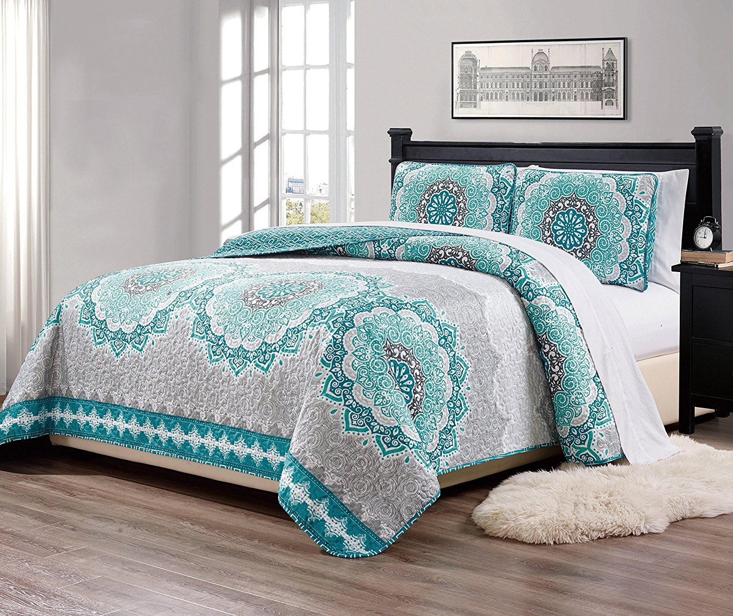 "Fancy Collection 3 Pc King/California King Over Size Quilted Bedspread Set Aqua Turquoise Coastal Plain/""Gray Green"" White Elegant Design New"