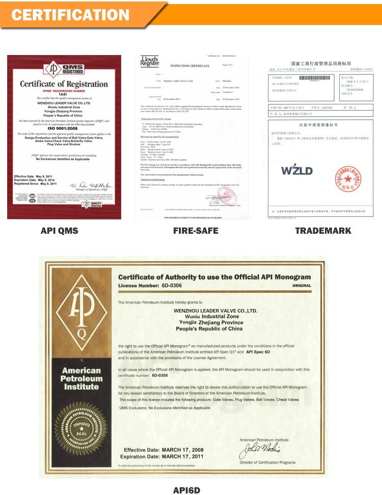 Wzld Asme B16 10 Api 6d 2 20 Certificate With Iso 9001 Api
