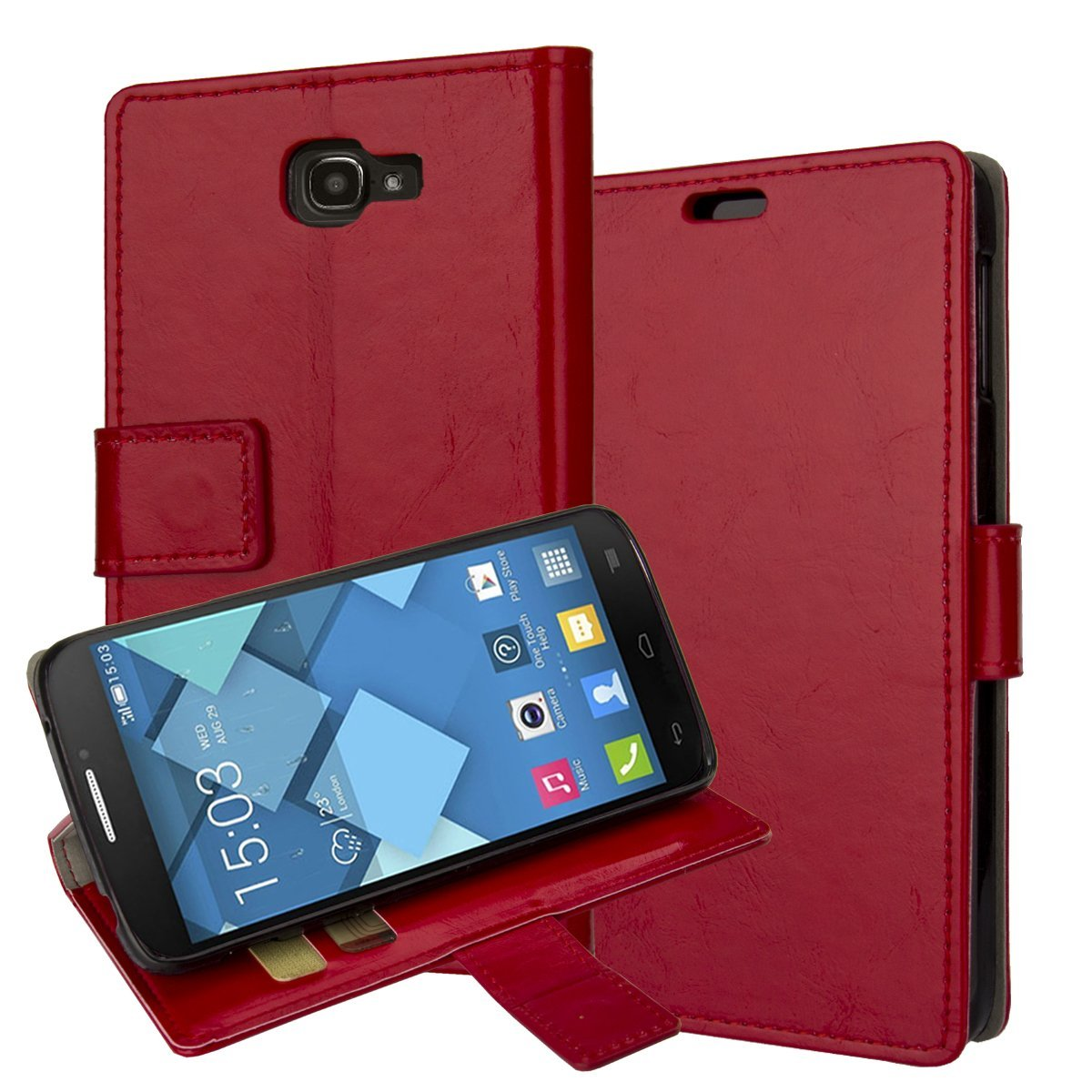 7040T, Alcatel Fierce 2 Case, Alcatel One Touch Fierce 2 7040T Cover Aomax® Wallet Card Slot View Stand Premium Protective Leather Cover Case for Alcatel One Touch Fierce 2 / Alcatel 7040T (T-Mobile/MetroPCS) / POP ICON A564C (Straight Talk/TracFone) 7040T (HDFM Red)