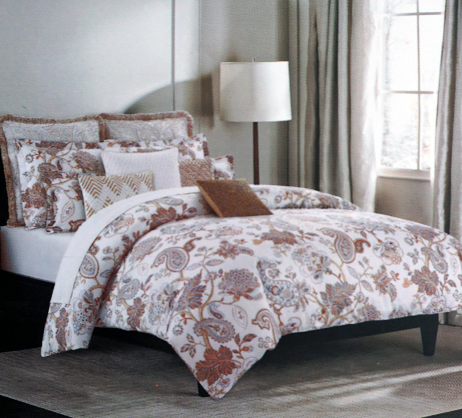 Nicole Miller Bedding 3 Piece Kng Duvet Cover Set Jacobean Fl Paisley Pattern Brown Beige Blue