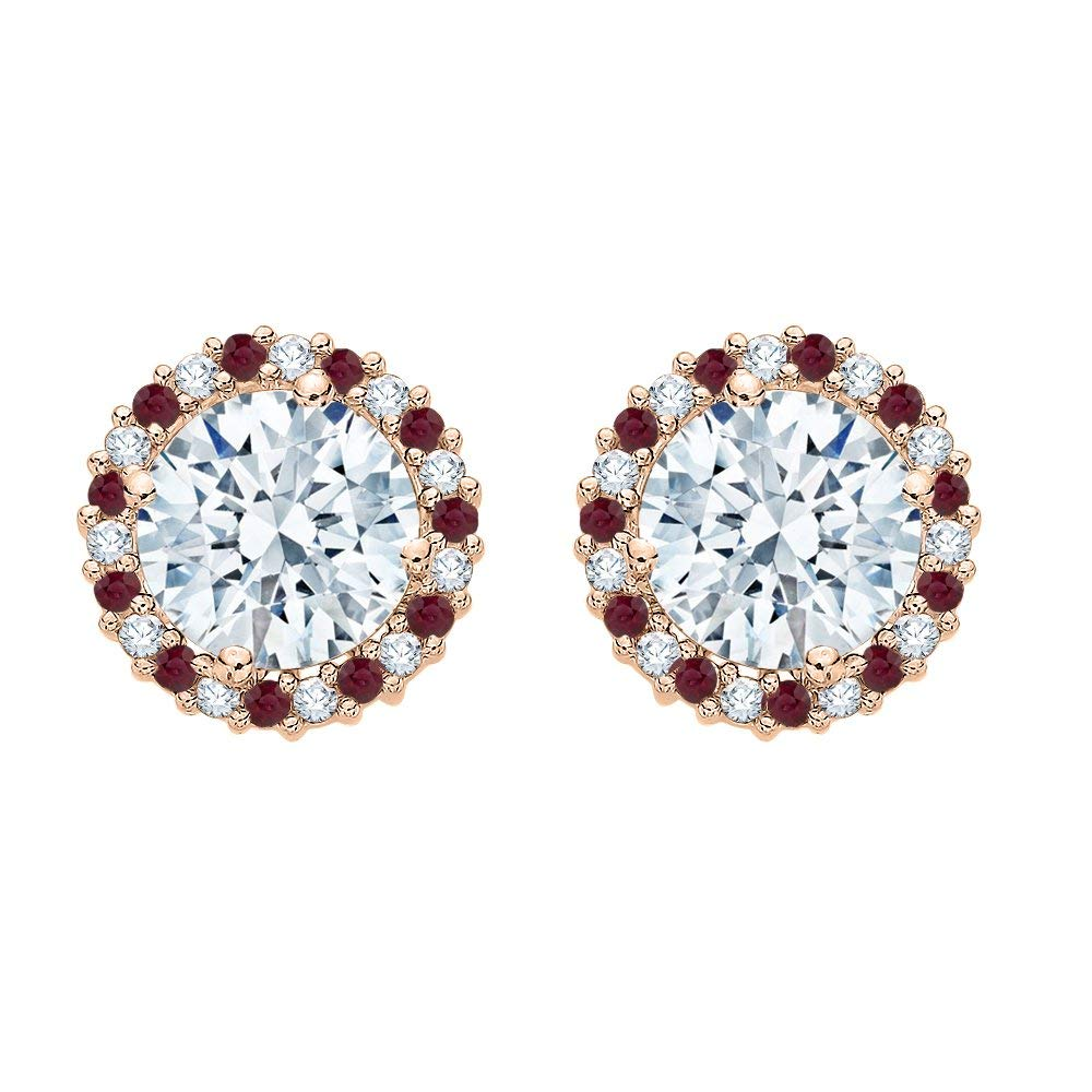 Get Quotations Alternating Diamond And Ruby Earring Jackets In 10k Rose Gold 5 8 Cttw