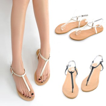 73fe07494 New Fashion Women Flat Sandals T-Strap Toe Post Pin Buckle Fastening Simple Shoes  Flats