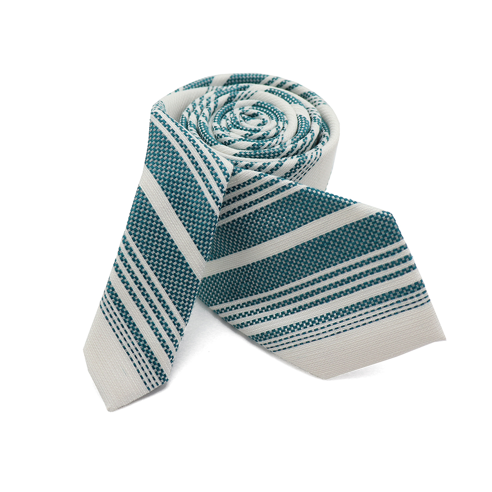 Green White Stripe Formal-Brand New Silk Blend Men's Tie