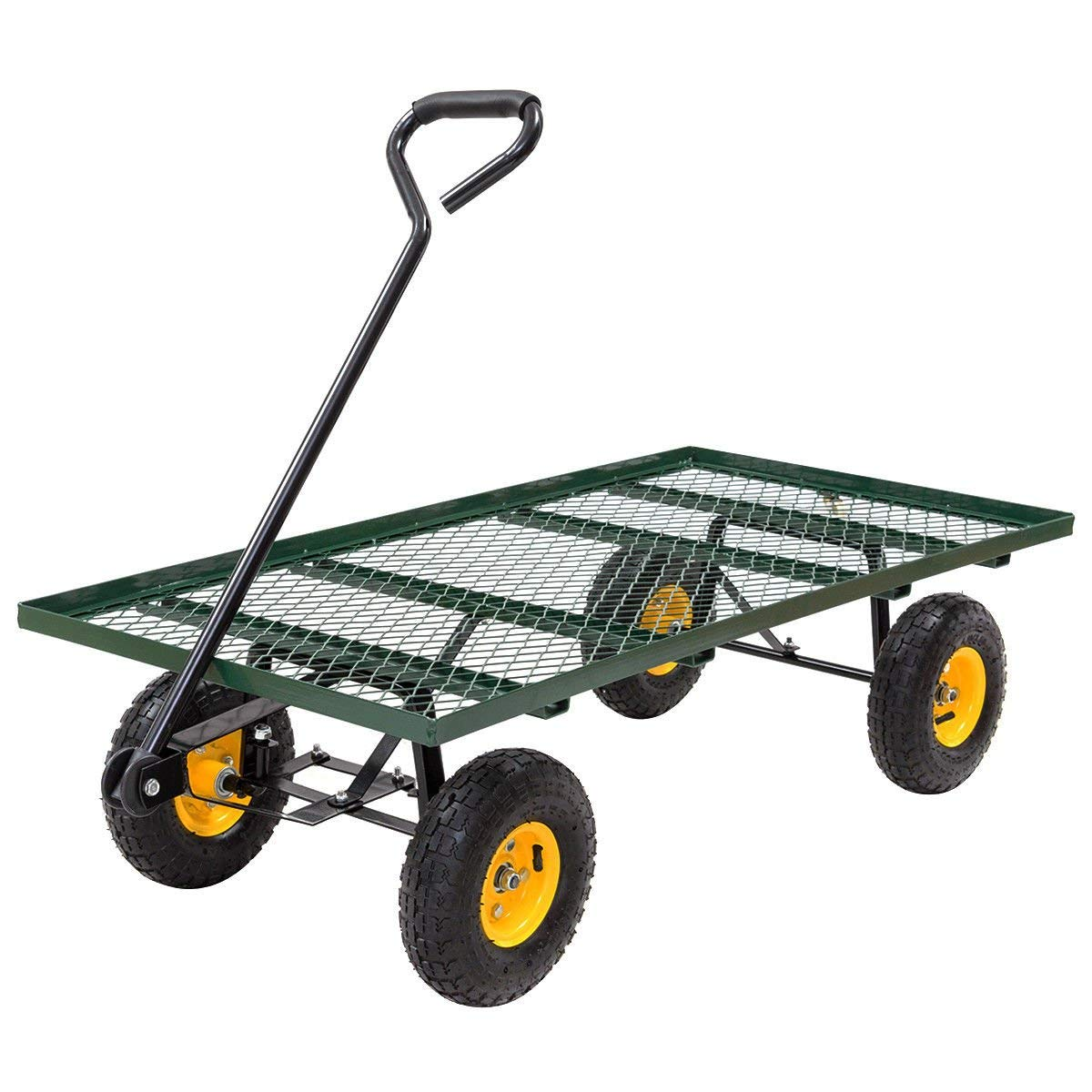 "Globe House Products GHP 800-Lbs Capacity Steel Yard Garden Trolley Cart with 10"" Tires & 33.1"" Draw Bar"